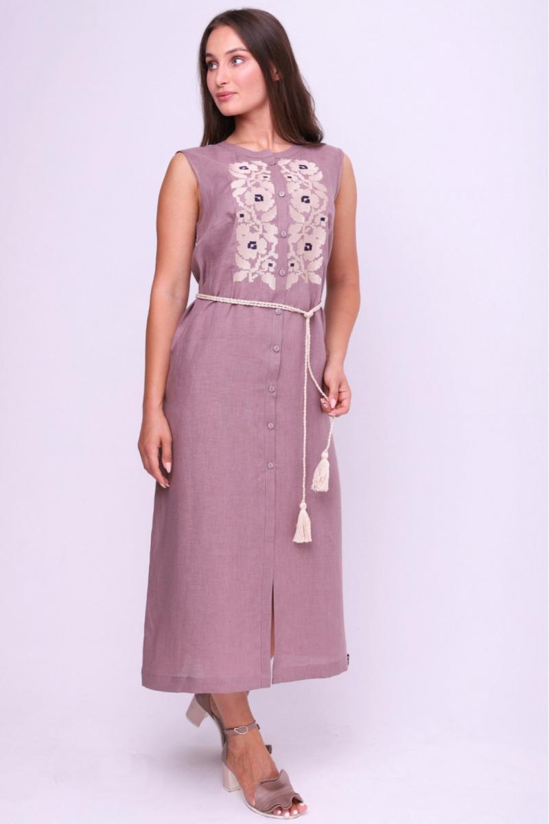 Вишита жіноча літня лляна сукня